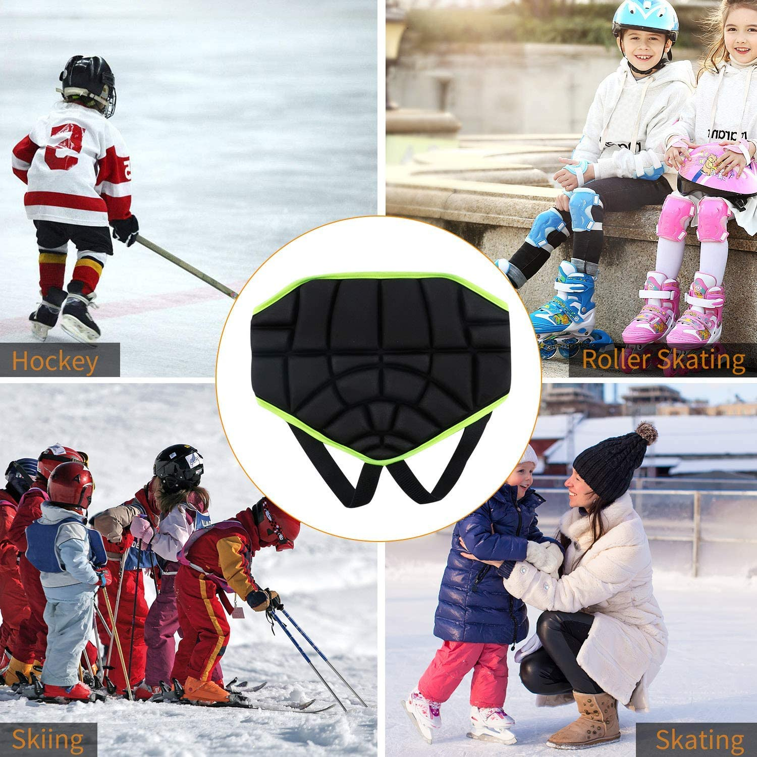 Children Hip Pad Wear-Resistant Thickened EVA Sponge Kids Outer Wearing Anti-Fall Hip Pad Butt Protective Gear Youth Padded Shorts for Roller Skating Skiing Ice Skate Snowboard Hockey Soccer
