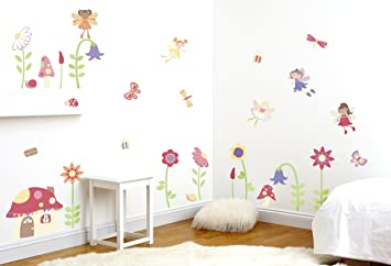 Enchanted Garden Fairies Girls Nursery And Bedroom Wall Sticker Decor Kit