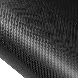 AURELIO TECH 4D Car Carbon Fiber Vinyl Wrap Film Sticker Sheet, Black - 12 Inch x 60 Inch