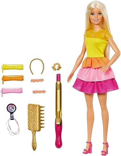 Barbie Coffret Poupée Cheveux Bouclés Blonde 2 Modes Pour Boucles Les Cheveux Sans Chaleur Accessoires De Coiffure Inclus Jouet Pour Enfant Gbk24