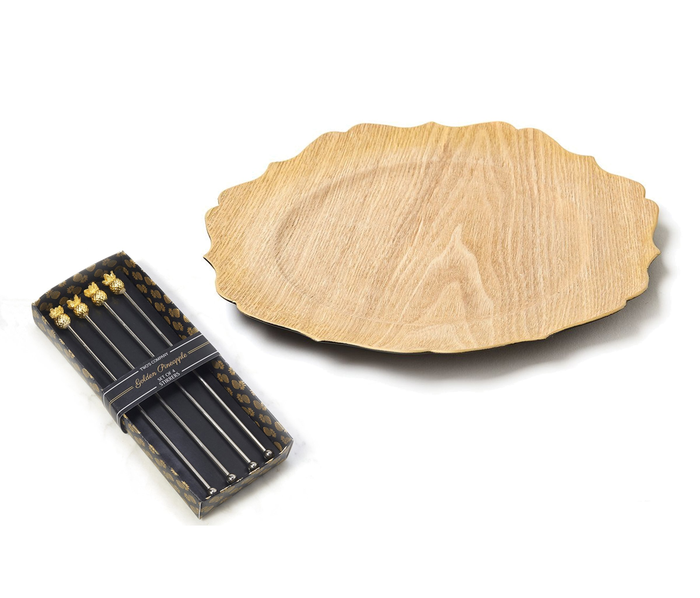 Mozlly Value Pack - Two's Company Golden Pineapple Stainless Steel Cocktail Drink Stirrers (4pc Set) AND Good Wood Scalloped Oak Veneer Charger - Tropical Serveware (2 Items)