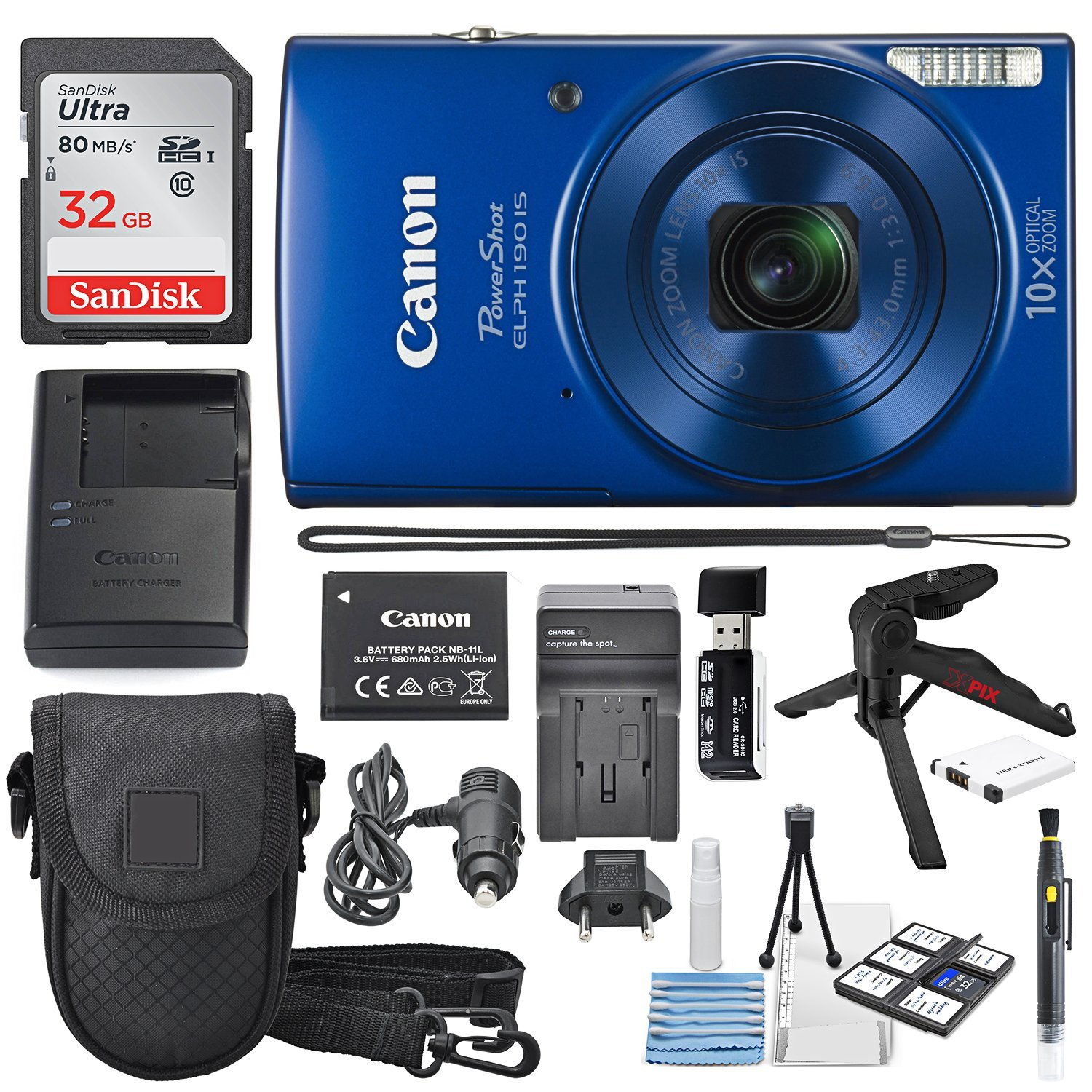 Canon PowerShot ELPH 190 IS Digital Camera (Blue) with 10x Optical Zoom and Built-In Wi-Fi with 32GB SDHC + Flexible tripod + AC/DC Turbo Travel Charger + Replacement battery + Protective camera case by Canon