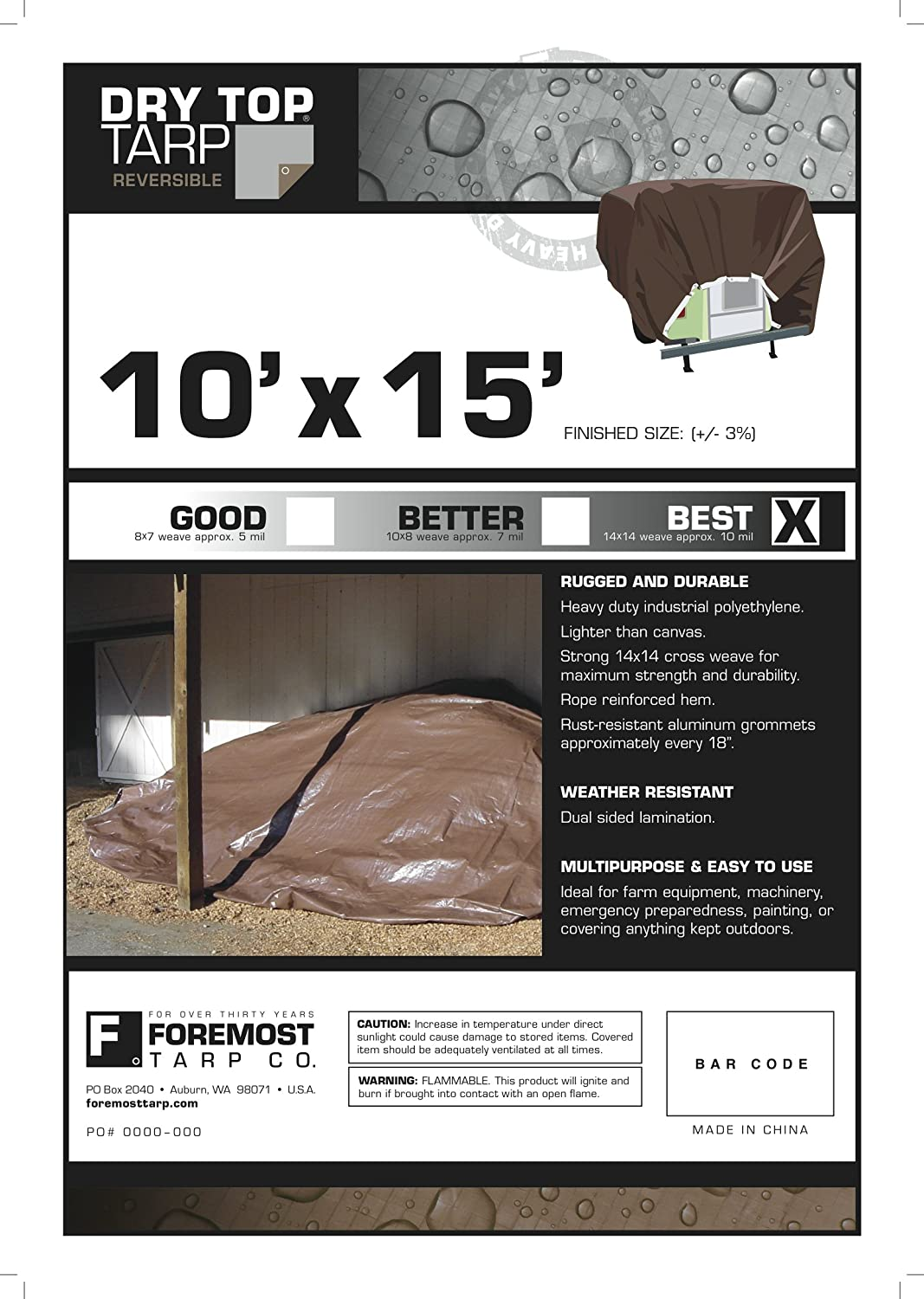 Dry Top 210156 10-by-15-Foot Full Finish Size Reversible Tarp, 10-mm (Silver/Brown)