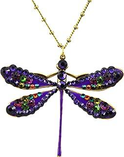 product image for Anne Koplik Dragonfly Necklace, Antique Gold Plated Filigree