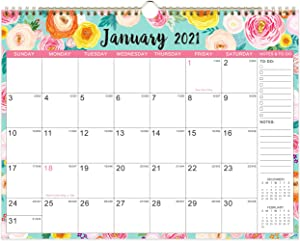 "2021 Calendar - Wall Calendar 2021 with Foral Monthly Page, Jan 2021 - Dec 2021, 15"" x 11.5"", Twin-Wire Binding & Large Blocks, Perfect for School, Office & Home Planning"