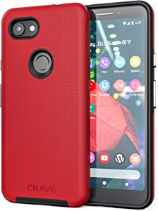 Crave Pixel 3a Case, Crave Dual Guard Protection Series Case for Google Pixel 3a - Red