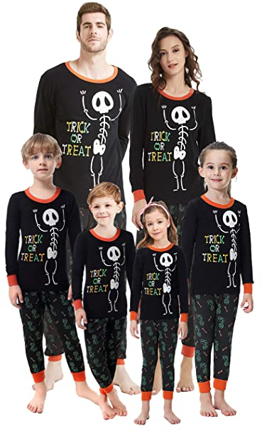 boys pajamas glow in dark pjs family set cotton sleepwear for kids skull pattern clothes size