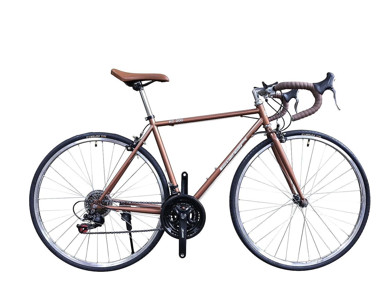 Eizer(アイゼル) 【ロードバイク】おしゃれなクラッシックモデル 伝統のクロモリ700Cフレームに定番シマノ21速 こだわりの700Cバフ仕上げホイールで街中やストリートの背景になじむレトロデザイン KC200ブラウン KC200 ブラウン 700C B075DZSQVW