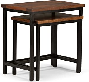 Simpli Home 3AXCSKY-06 Skyler Solid Mango Wood and Metal 25 inch Wide Modern Industrial Nesting 2 Pc Side Table in Dark Cognac Brown, Fully Assembled