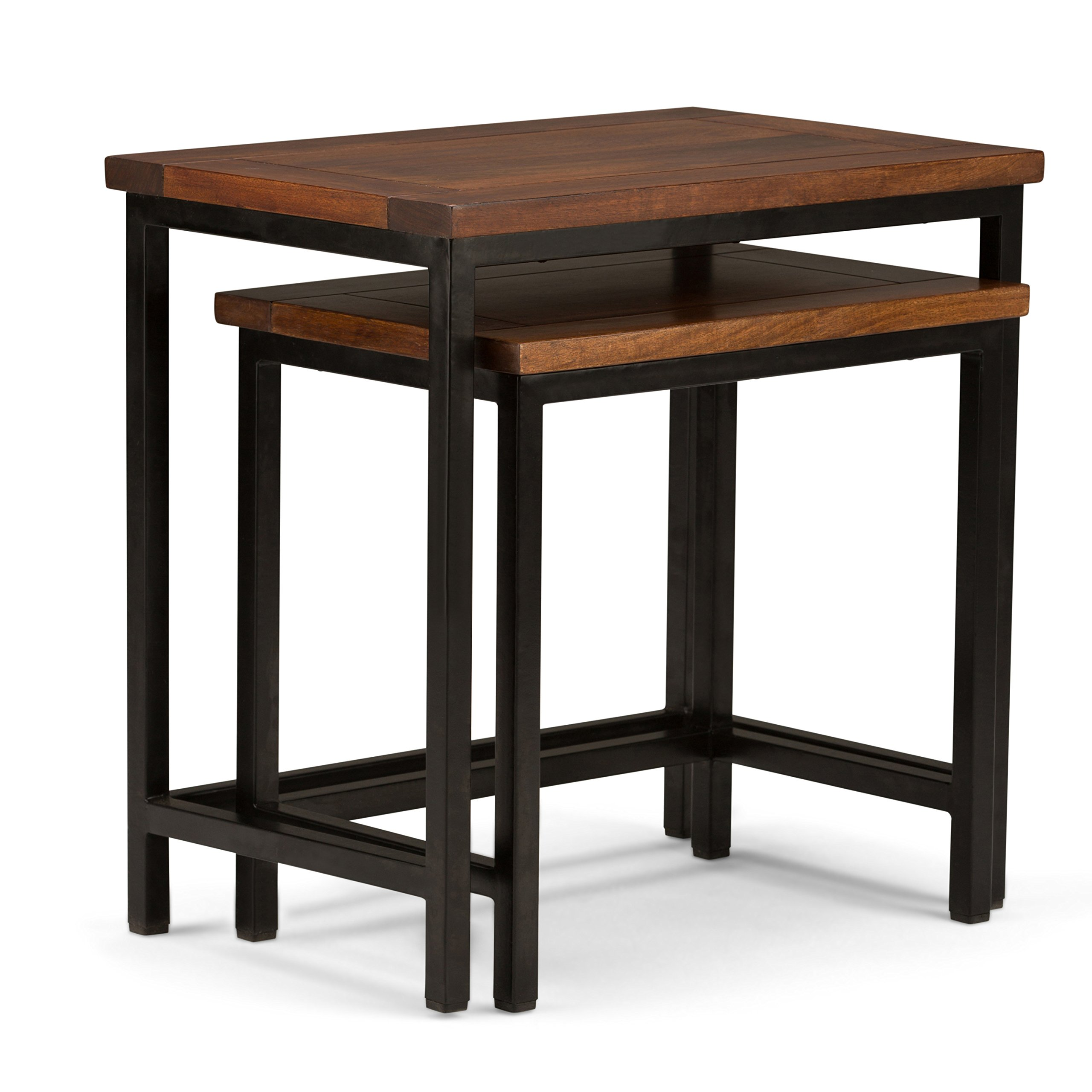 Simpli Home 3AXCSKY-06 Skyler Solid Mango Wood and Metal 25 inch Wide Modern Industrial Nesting 2 Pc Side Table in Dark Cognac Brown, Fully Assembled by Simpli Home