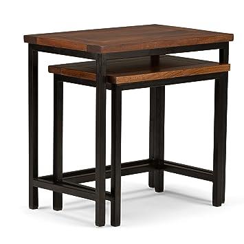 Simpli Home Skyler 2 Piece Nesting Side Table, Dark Cognac Brown