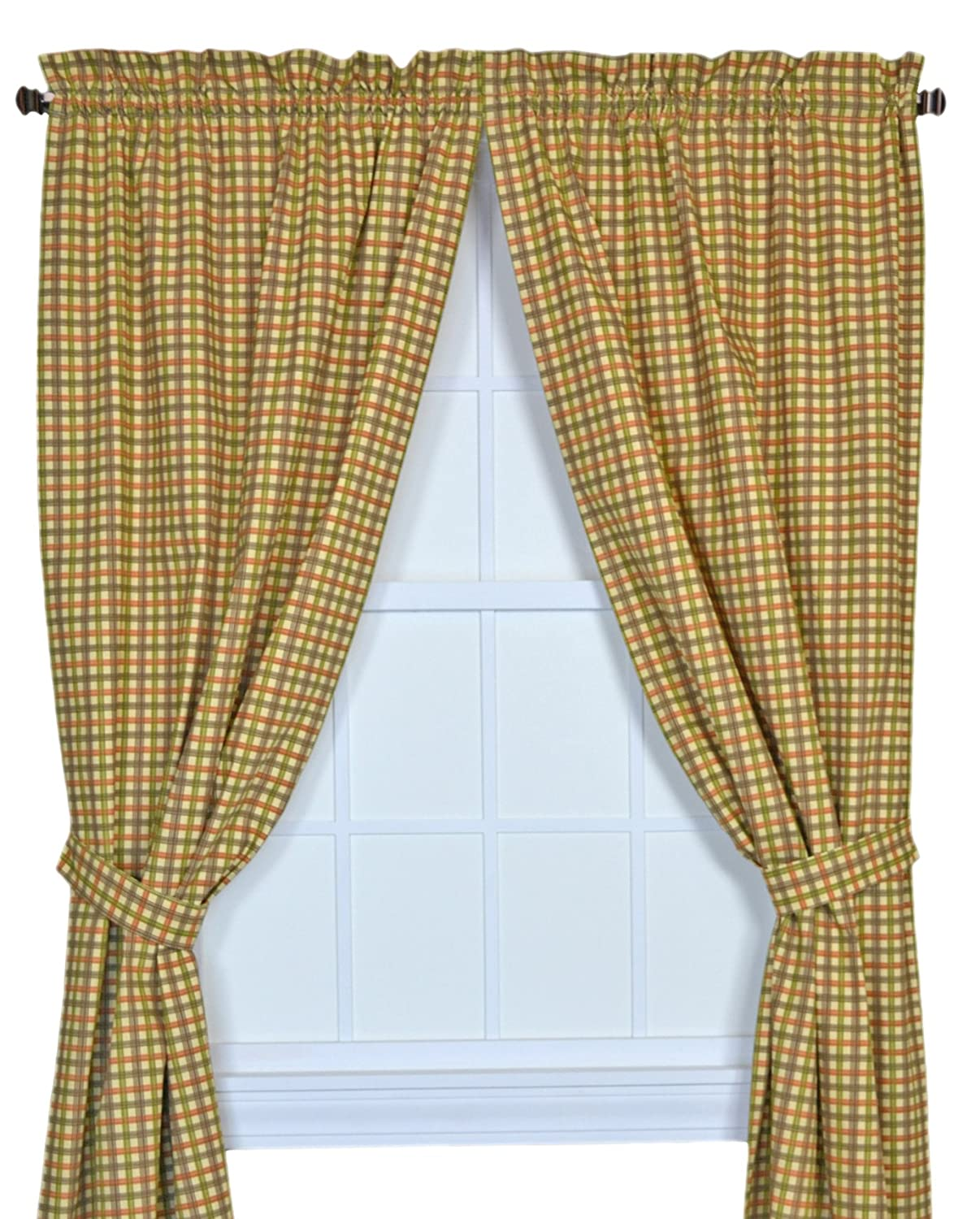 Charlestown Check Empress 2-Piece Swag Curtain Set, Watermelon Ellis Curtain 730462590091