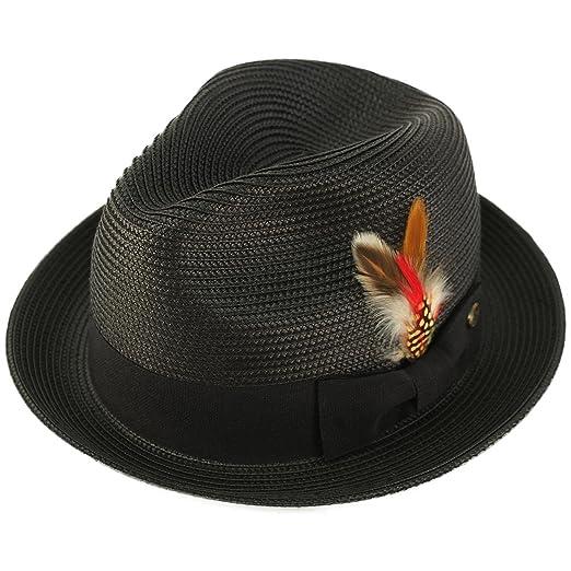 Men s Handsome Feather Derby Fedora Tall Crown Upturn Curl Brim Hat ... 71b6c588d095
