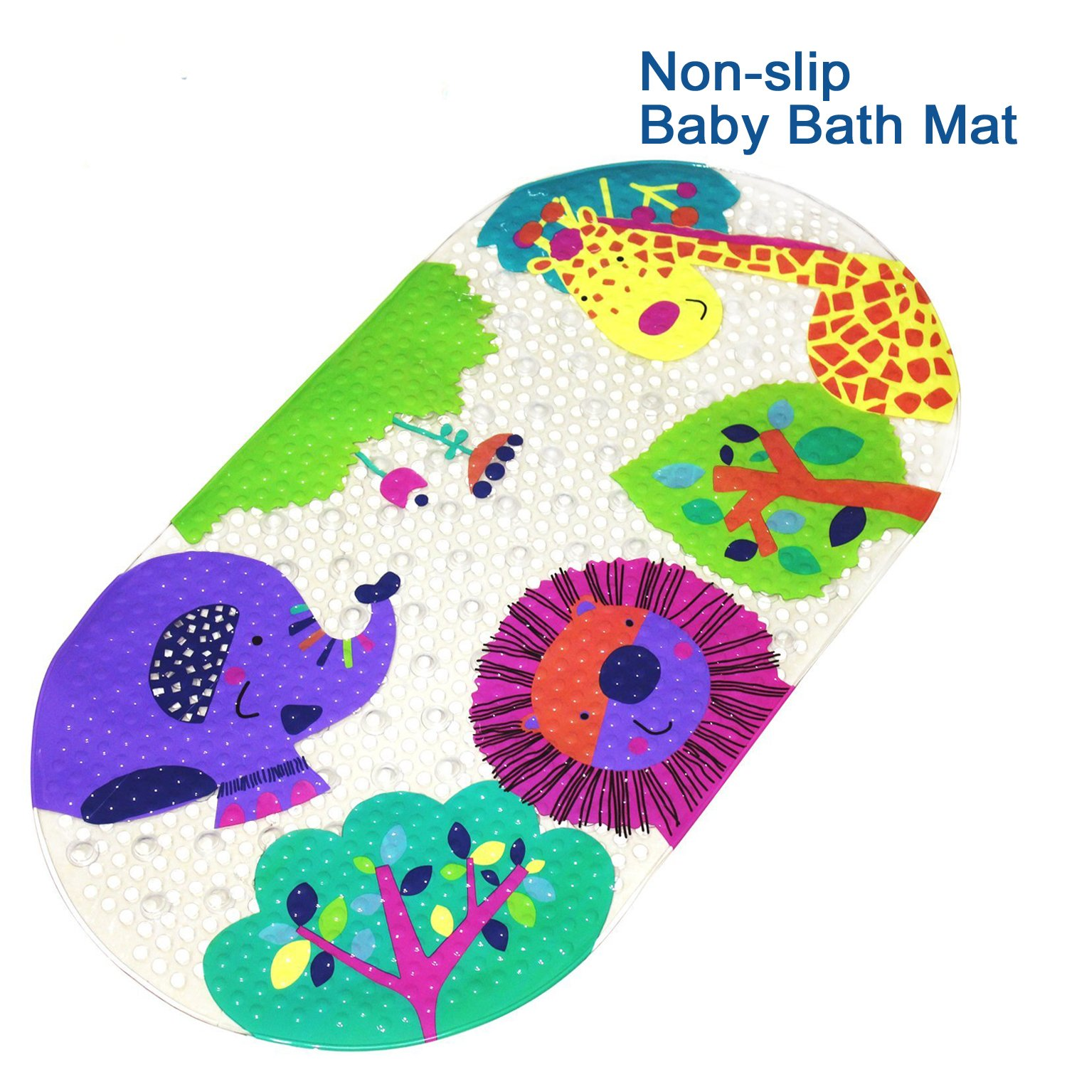 Alledomain Non-slip Baby Bath Mat for Toddler/Kids Anti-Bacterial Bathtub Mat, Shower Mat 69x38cm (27x15) - Durable Suction Cup Design Slip Resistant Bathroom Floor Mats - Phatalates & Lead FREE