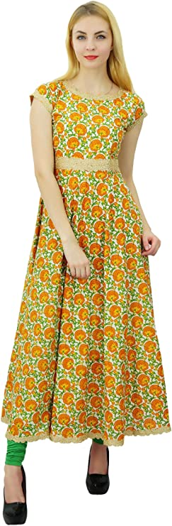 Phagun Ethnic Top Cotton Women Solid Pattern Anarkali Kurti Tunic Dress Designer