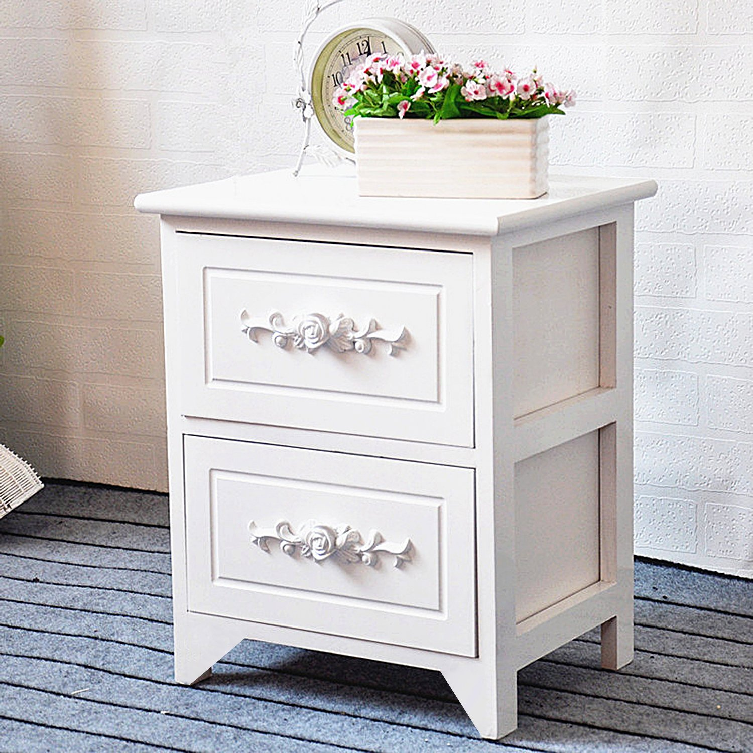 DL furniture - Fully Assembled Tone Finish Night Stand 2 Drawer Storage Shelf Organizer | White by DL furniture