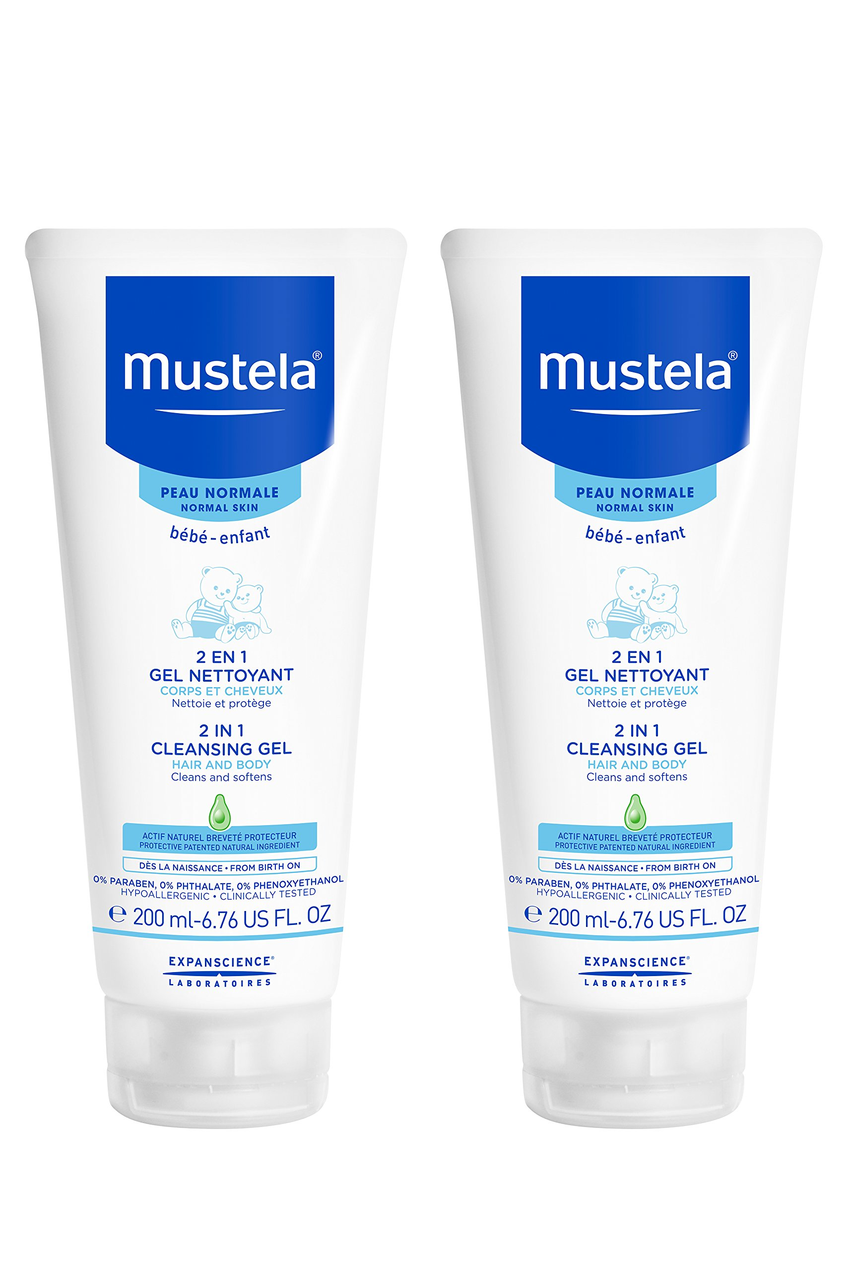 Mustela 2 in 1 Cleansing Gel, Baby Body & Hair Cleanser for Normal Skin,