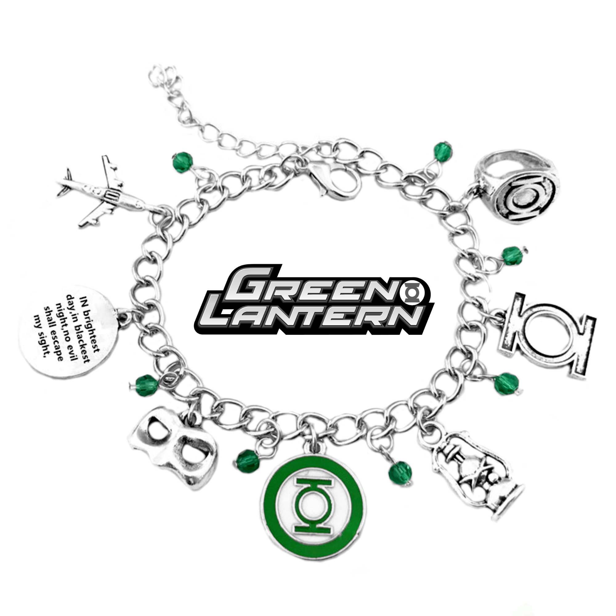 Green Lantern Charm Bracelet DC Comics Movies Cartoons Superhero Logo Theme Ryan Reynolds Premium Quality Detailed Cosplay Jewelry Gift Series