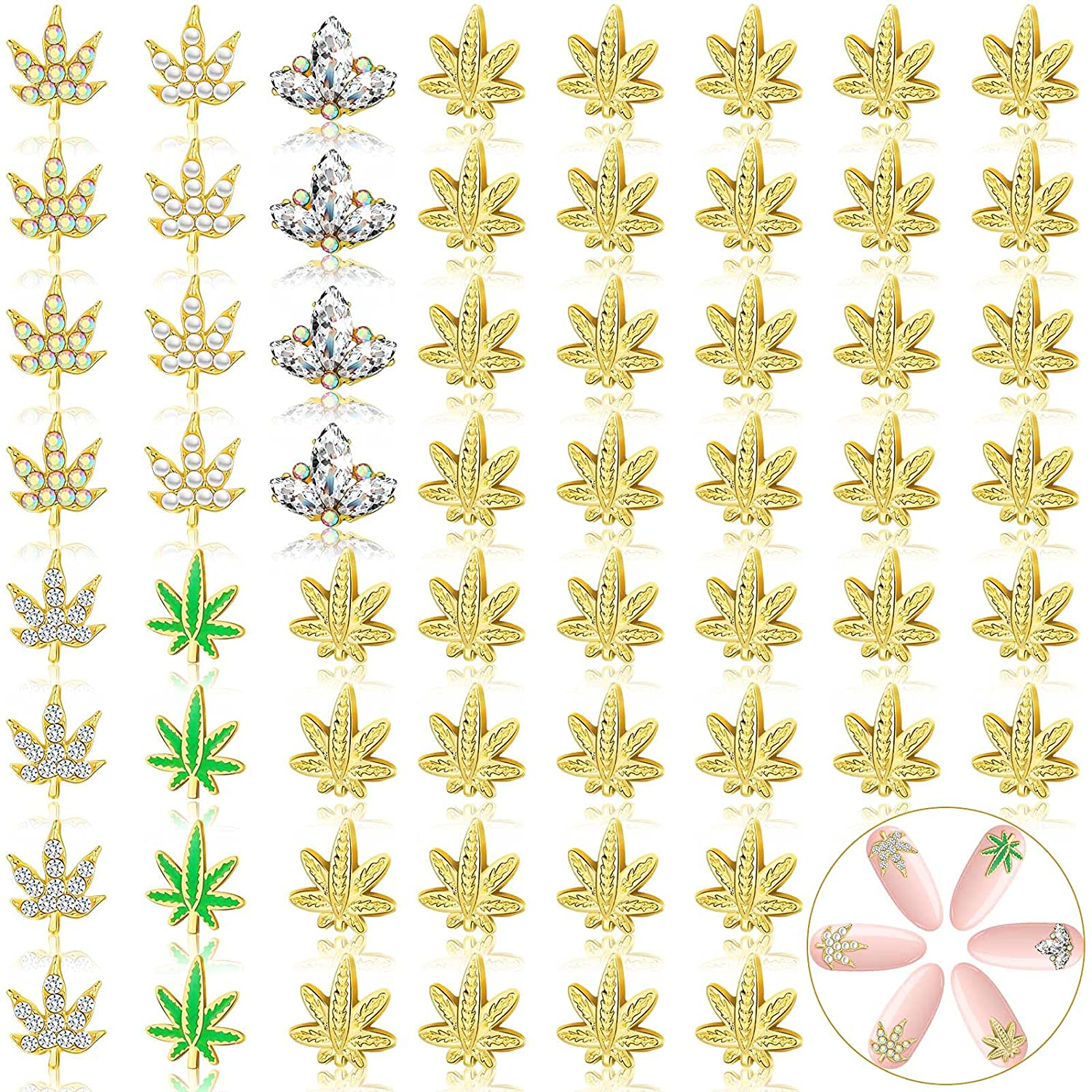 60 Pieces 3D Nail Art Decorations 6 Design Leaf Nail Charm Leaf Rhinestone Charm Nail Decoration Diamond Maple Leaves Nail Charms for Nail Scrapbooking DIY Craft Jewelry Making