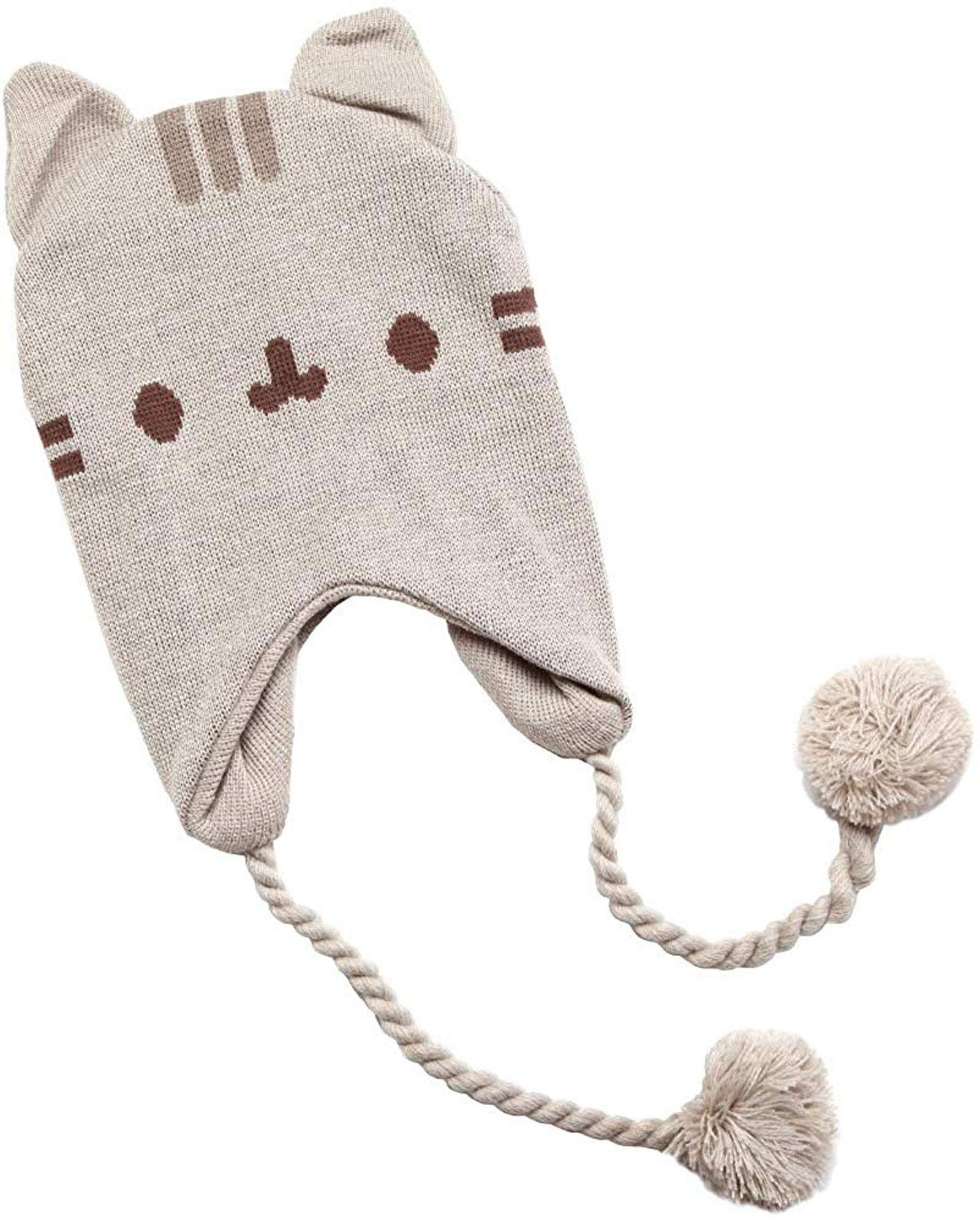 Pusheen Face Peruvian Chullo Hat with Earflaps Poms and Cat Ears