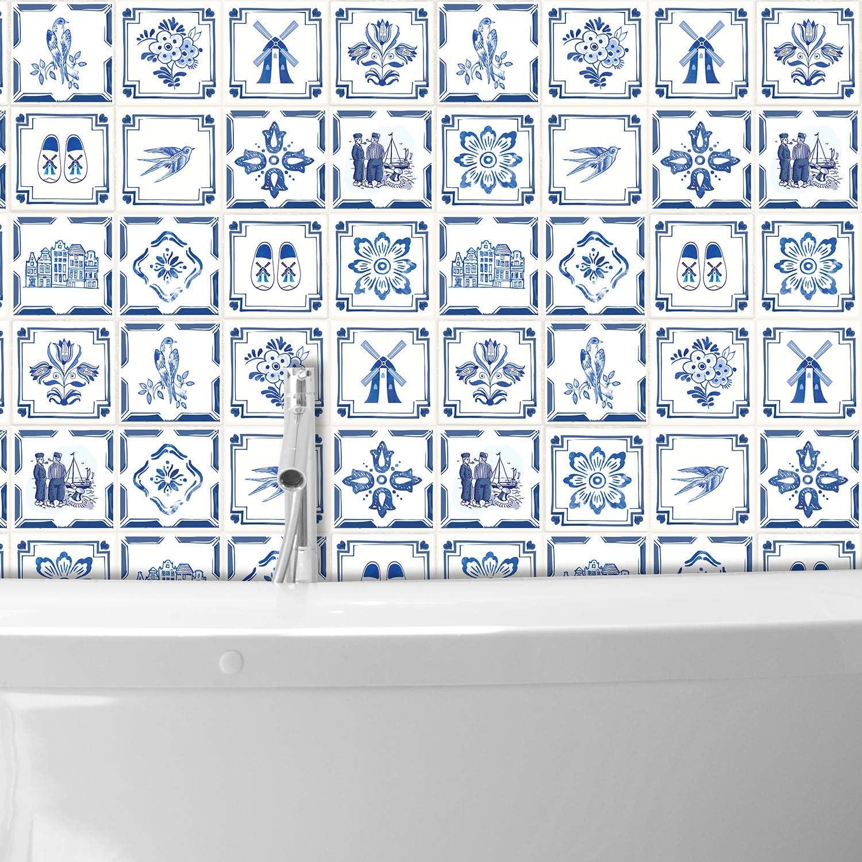 15CMX15CMX0.02CM Mixed Walplus WT1528-Dutch Blue Tiles Wall Stickers-15 cm x 15 cm-24 pcs./…