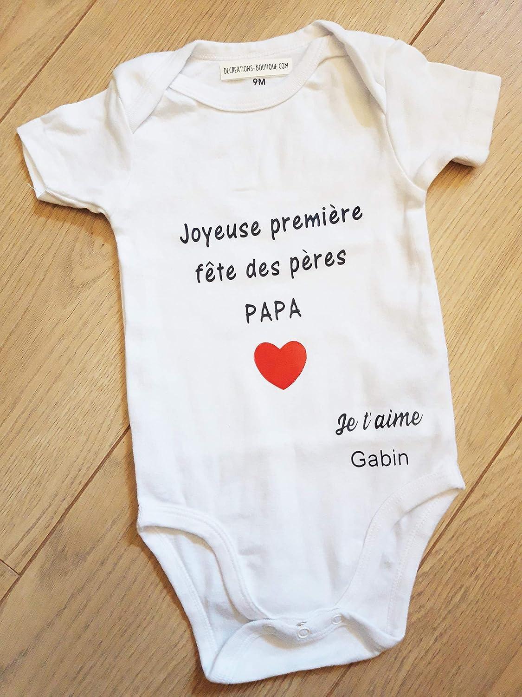 Body bébé cadeau Première fête des Pères Papa coeur personnalisable prénom