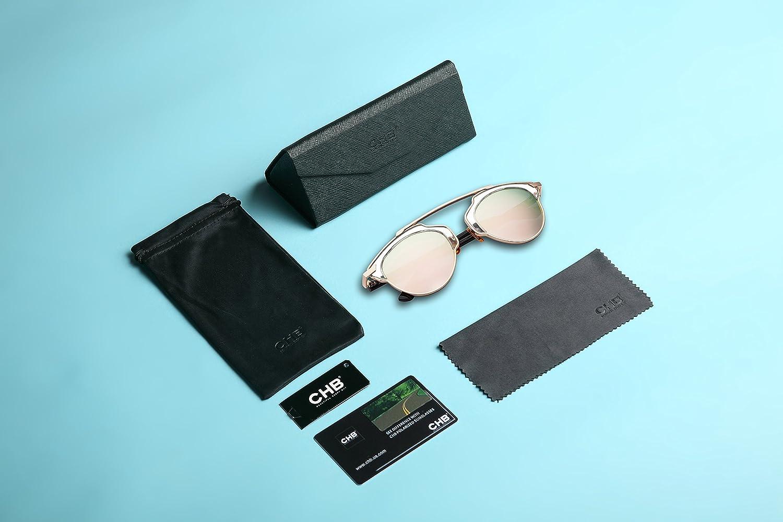 8c1d363b6f3 Amazon.com  CHB Women s HD Mirrored Lens Creative Metal Frame Street  Fashion Designer Polarized Sunglasses UV400 with Case  Clothing