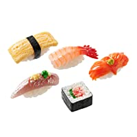 Sushi Keychain (5 set: Egg, Coldwater Prawn, Surf Clam, Horse Mackerel, Negitoro Roll) Realistic food replicas / For bags, keys or pouches/ For people who like sushi/ Japan-made/ 20 kinds