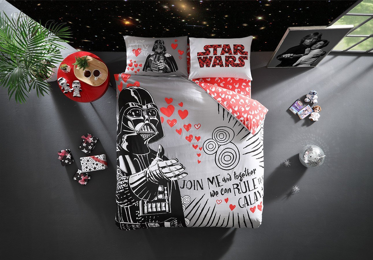 LaModaHome Movies Duvet Cover Set, 100% Cotton, Star Wars Darth Vader Says Join Me, We Can Rule The Galaxy, Destiny - Set of 4 - Duvet Cover, Fitted Sheet and 2 Pillowcases for Full Bed