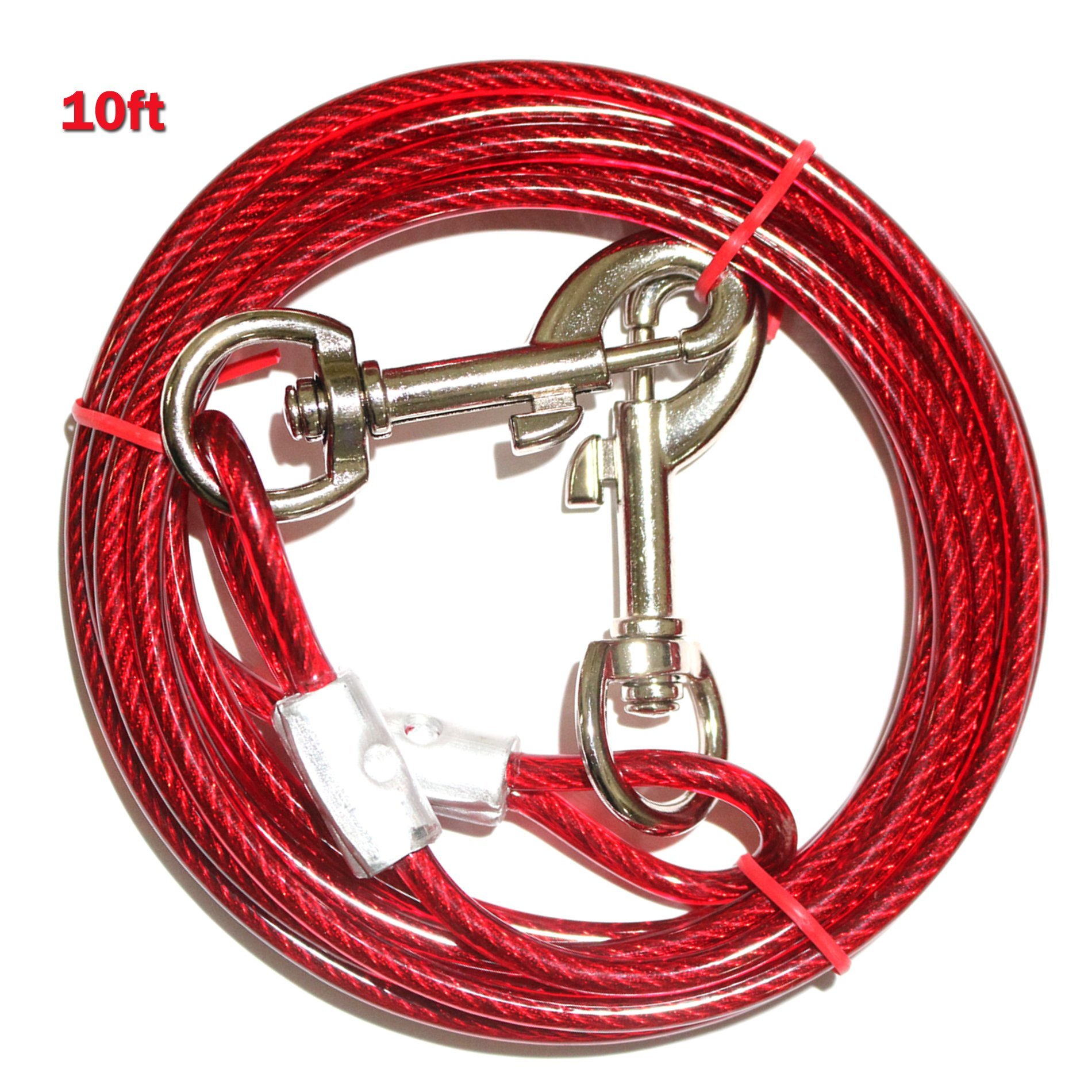 PETJOY 10ft Tie Out Cable for Dogs, Dog Tie Out Cable for Pet Dogs, Up to 60 Pounds