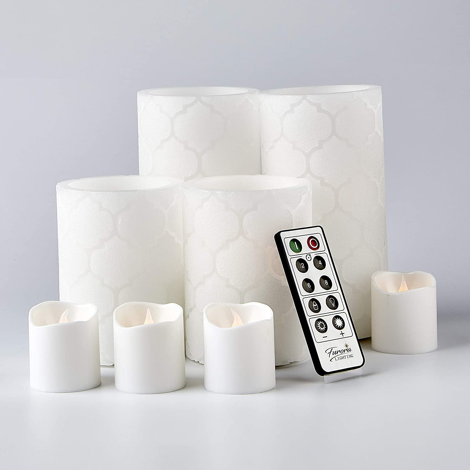 Furora LIGHTING LED Flameless Candles with Remote Control, Set of 8, Real Wax Battery Operated Pillars and Votives LED Candles with Flickering Flame and Timer Featured - White Nordic Collection