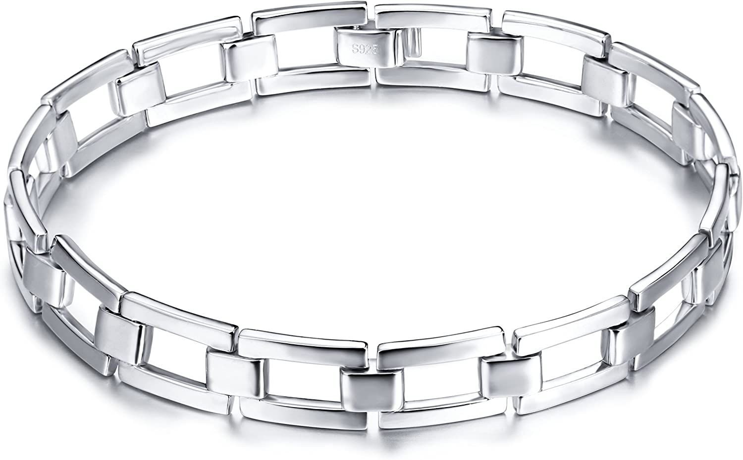 Men's Real S925 Sterling Silver Classic Link Bracelet 8.5 Inch