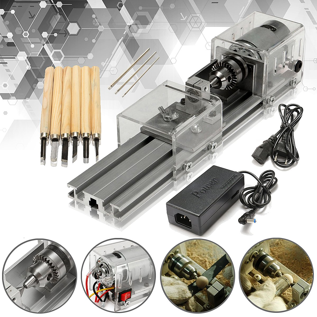 LB-01 Mini Lathe Beads Machine Woodworking DIY Lathe Polishing Drill Rotary Tool DC 24V