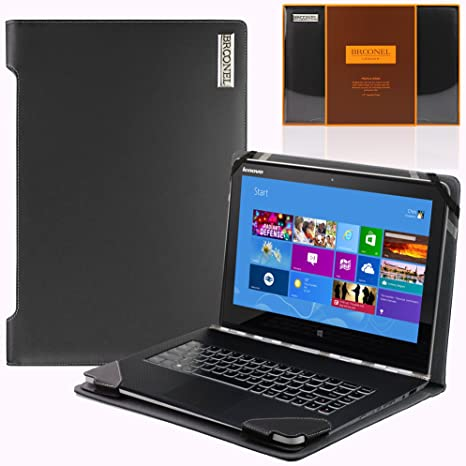 Navitech Black Real Leather Folio Case Cover Sleeve For The Lenovo YOGA 3 Pro 13.3-inch