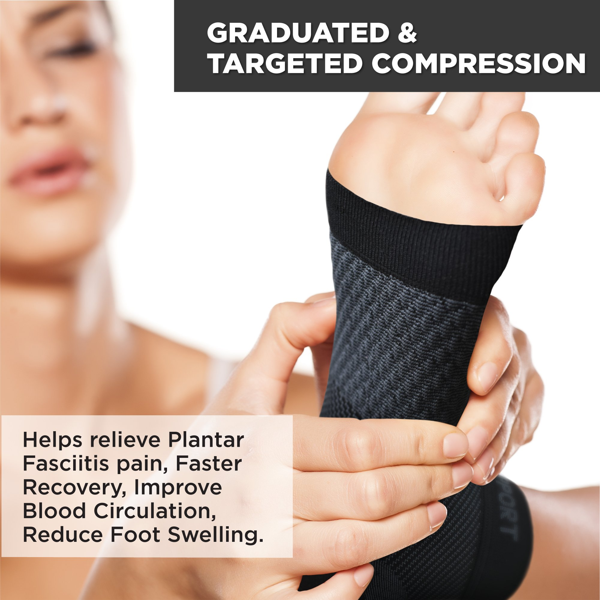 Plantar Fasciitis Socks for Men and Women - Foot Compression Sleeves for Arch Pain - Heel Spur - Achilles Tendon Pain - Foot Sweling by PURE SUPPORT by Pure Support (Image #5)