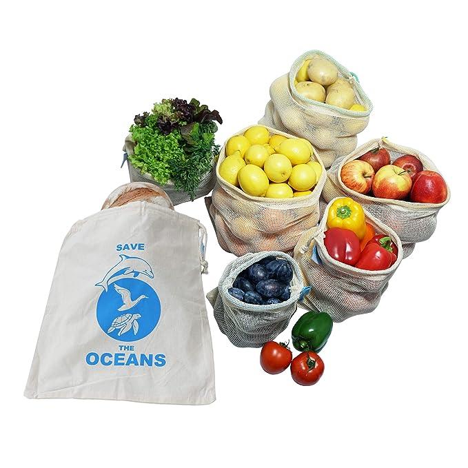 OzeanKonzept 7er Set Obst- und Gemüsebeutel aus Bio-Baumwolle Wiederverwendbare Einkaufsnetz für den plastikfreien Einkauf, Z