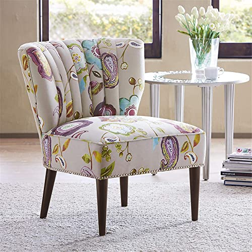 Madison Park Korey Accent Chairs – Hardwood, Birch Wood, Fabric Living Room Chairs – Khaki, Purple, Blue, Floral Paisley Style Living Room Sofa Furniture – 1 Piece Wingback Deep Seat Armless Bedroom Chairs Seats