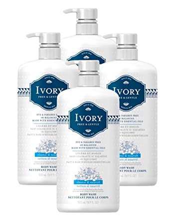Ivory Free Gentle Cleanse Nourish Body Wash with Pear Sandalwood Scent, 16.9 Fluid Ounce Pack of 4