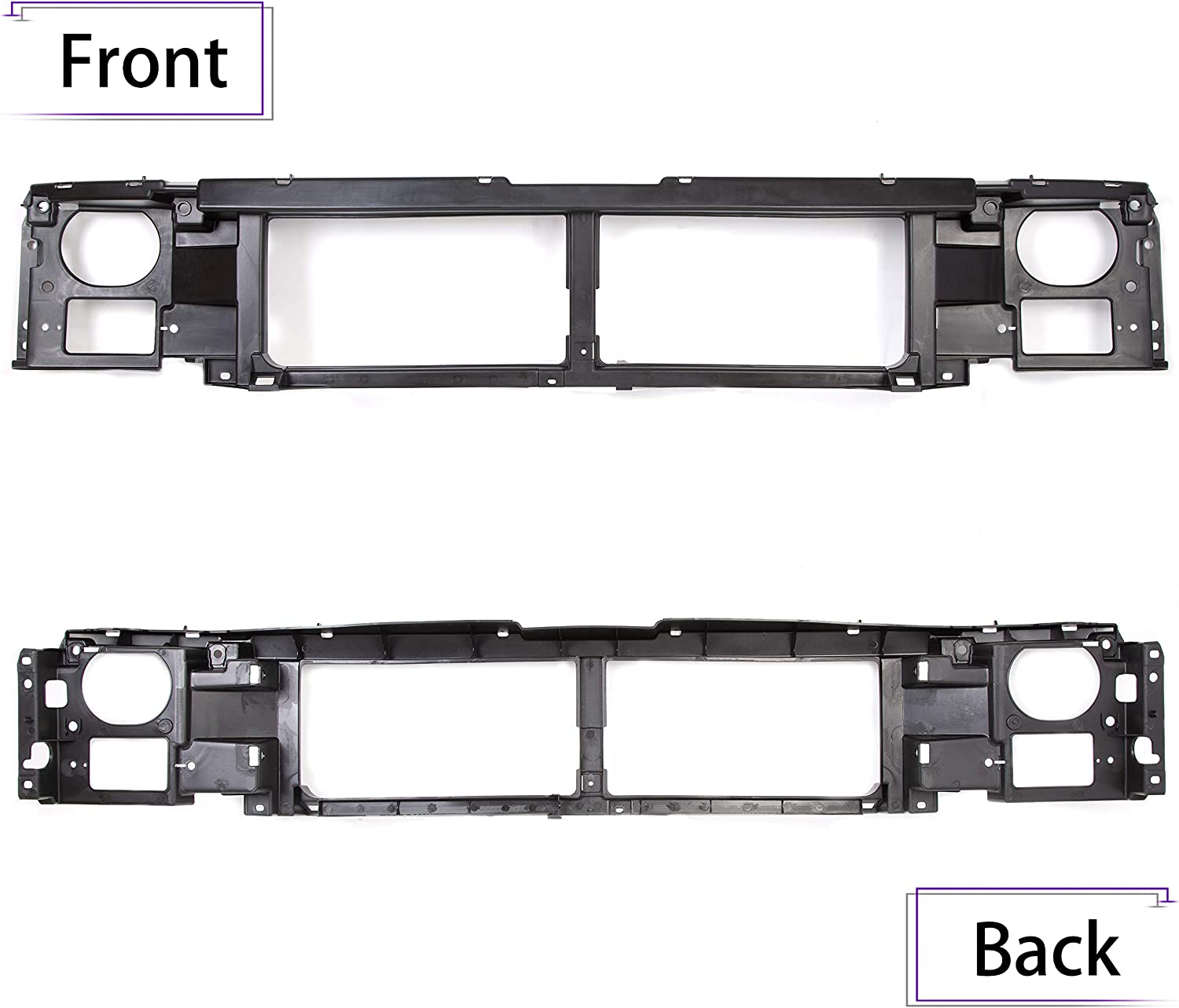 ECOTRIC Header Panel Grille Mount Panel for 1992-1997 Ford F-150 F-250 Bronco Replacement for FO1220113 F6TZ8A284AC