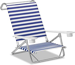 product image for Telescope Casual Striped Original Mini-Sun Anodized Sliver Finish Chaise, Blue/White