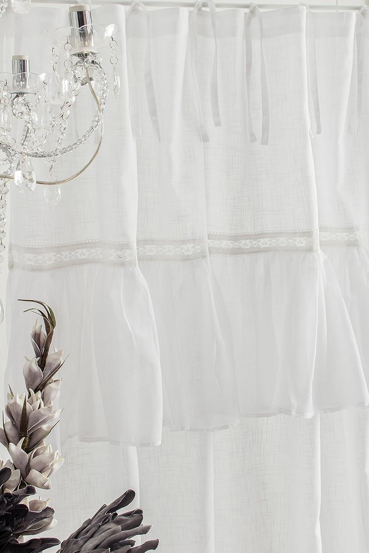 Sofia weiss Vorhang Gardine mit Volant ca. 145cmx250cm Spitzenborte ...