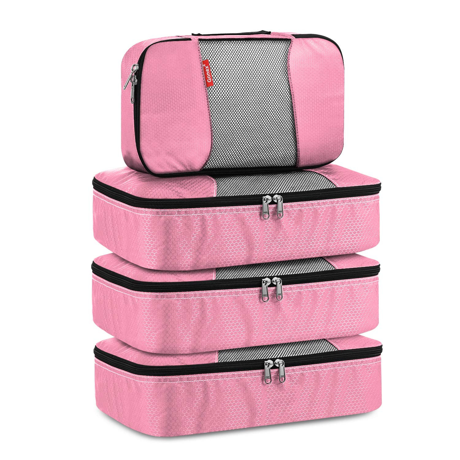 Gonex II Packing Cubes Travel Luggage Packing Organizers 3M+S Pink by Gonex
