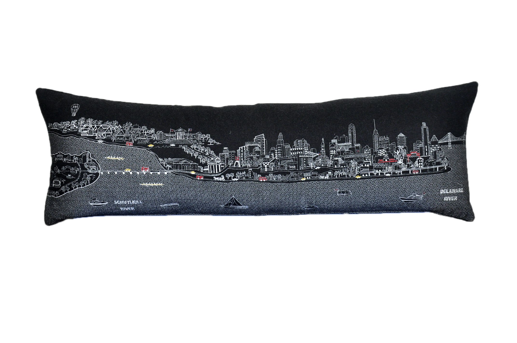 Beyond Cushions Polyester Throw Pillows Beyond Cushions Philadelphia Night Skyline King Size Embroidered Accent Pillow 46 X 14 X 5 Inches Black Model # PHI-NGT-KNG