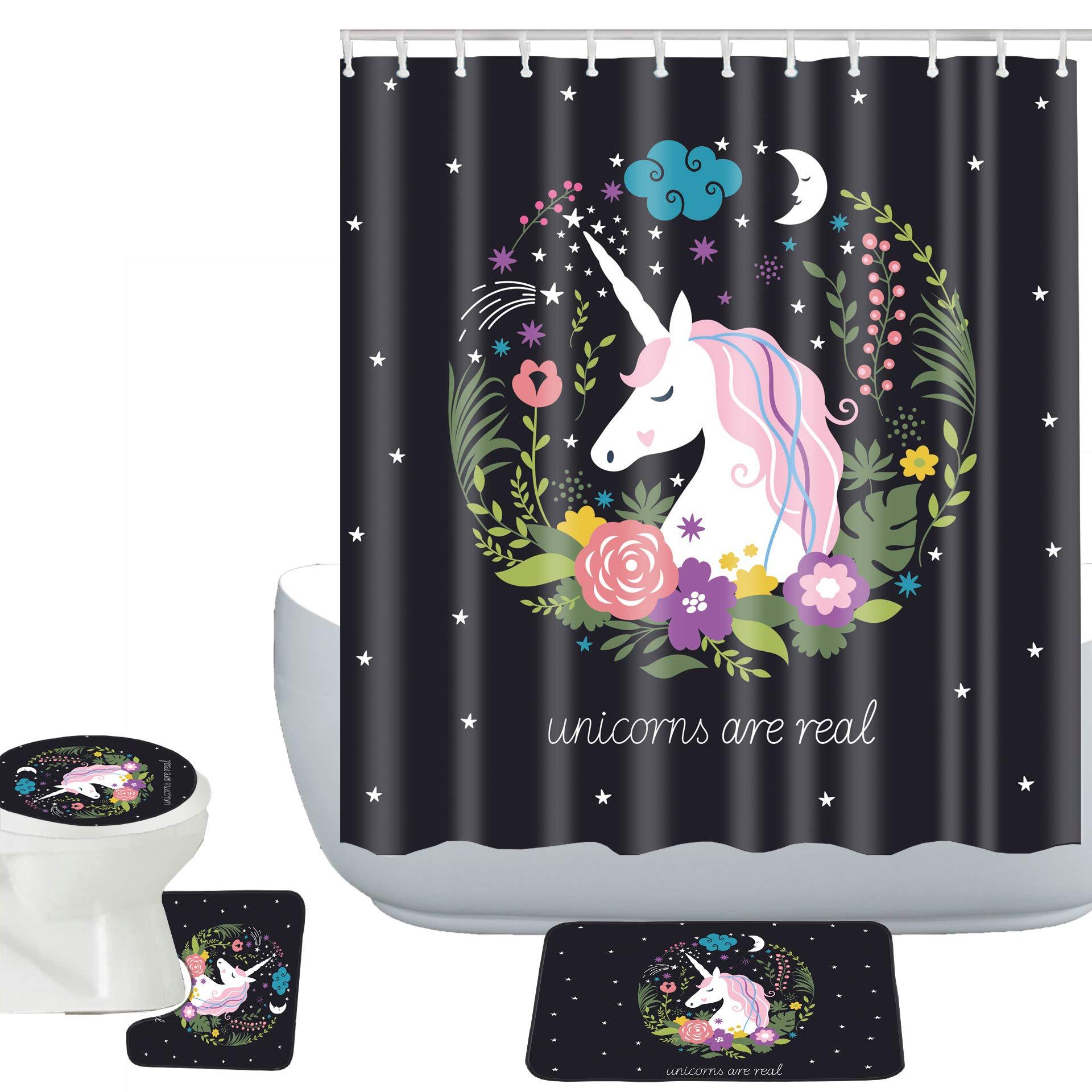 Amagical Unicorns are Real Decor Colorful Flowers with Unicorn 16 Piece Bathroom Mat Set Shower Curtain Set Bath Mat Contour Mat Toilet Cover Waterproof Shower Curtain with 12 Hooks Black (16)