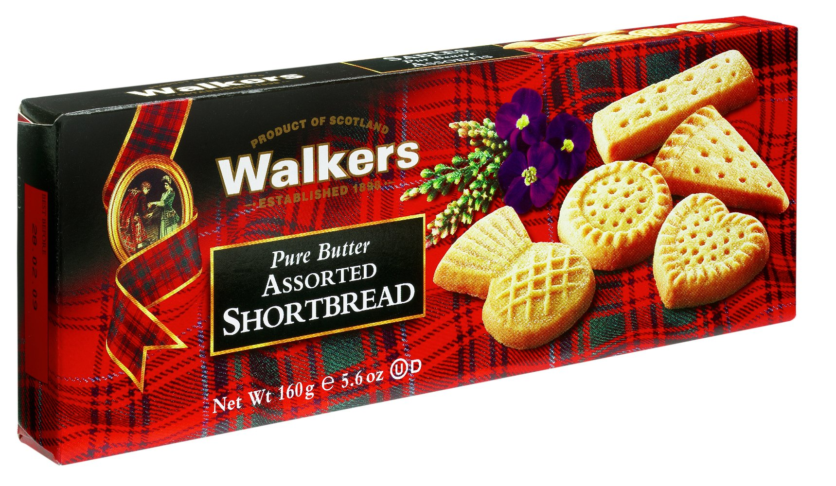 Walkers Shortbread Assorted Shortbread, Traditional Pure Butter Shortbread Cookies, 5.6-Ounce Boxes (4 Boxes) by Walkers Shortbread