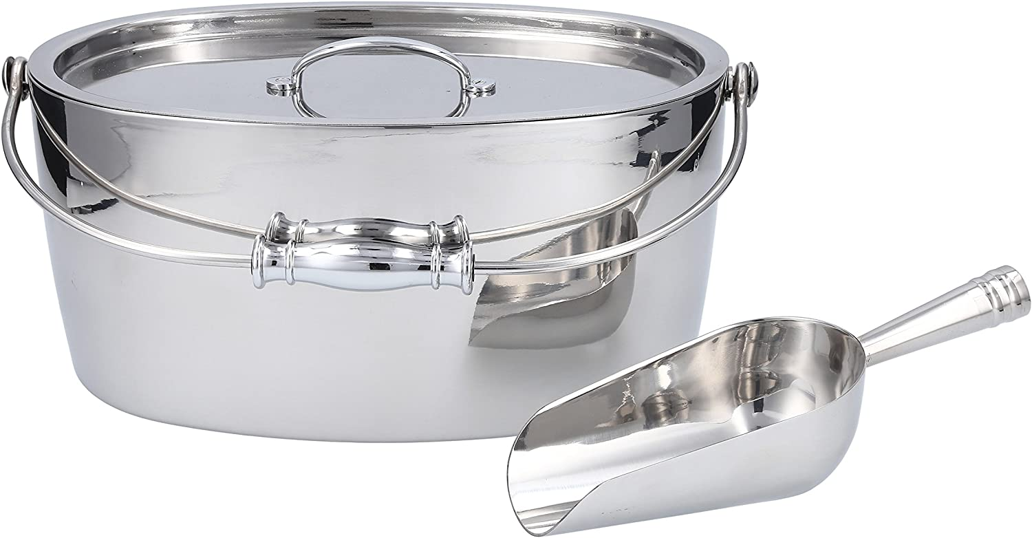 Crafthouse by Fortessa Professional Barware by Charles Joly Stainless Steel Oval Ice Bucket with Scoop