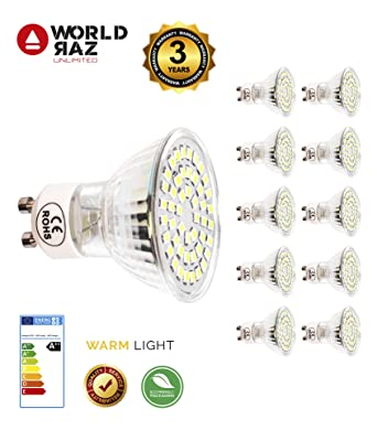 Bombillas GU10 led 5W 220-240V WORLD RAZ. Bombilla blanco cálido 3000K. Lámpara
