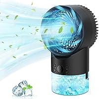 PATISZON Air Cooler Mini, Air Conditioner Portable Ventilator met 3 Koelniveaus en 7 Moodlights, Luchtkoeler Water…