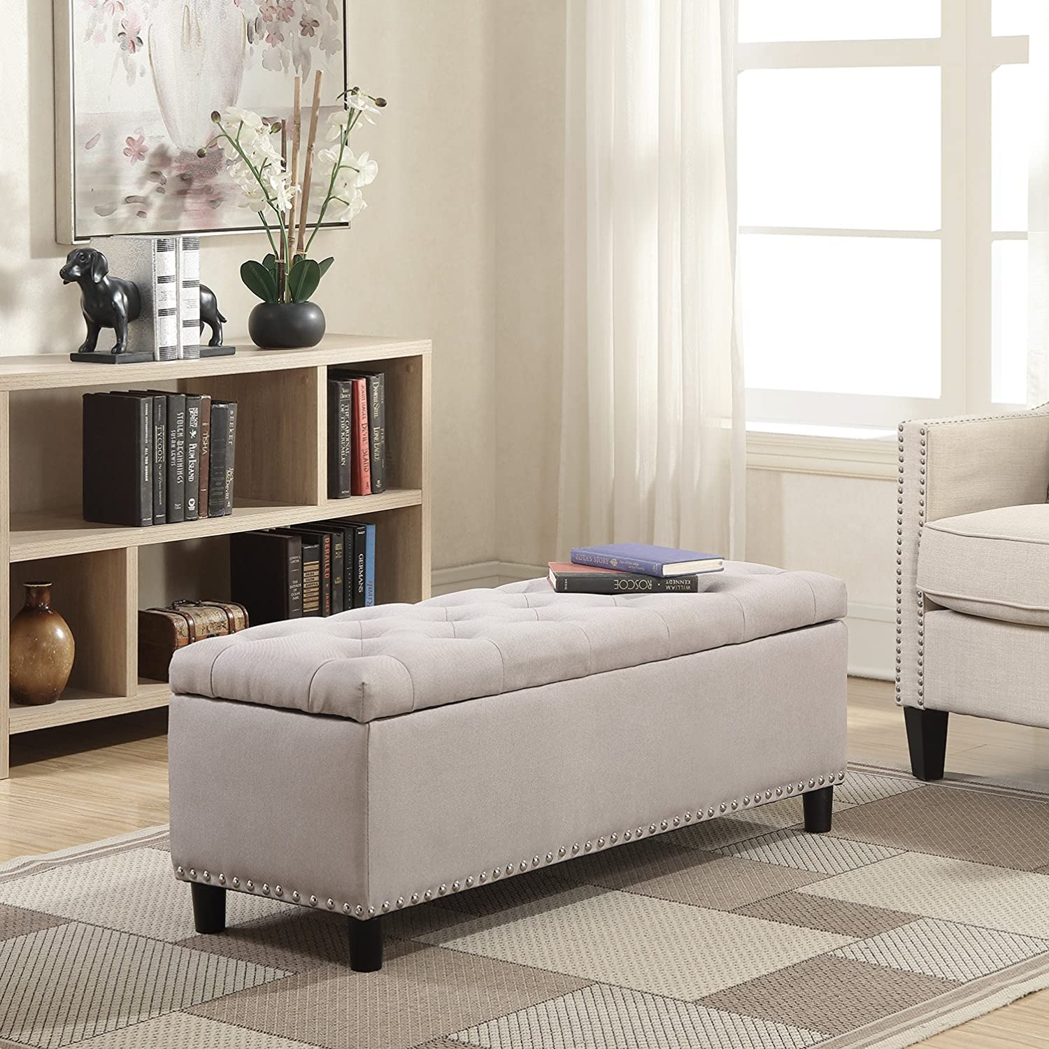 "Belleze 48"" Rectangular Storage Fabric Ottoman Bench Tufted Footrest, Large, Natural"
