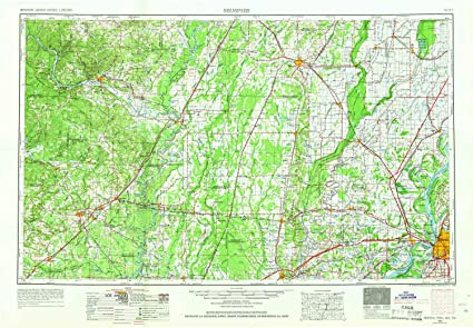 Amazon.com : YellowMaps Memphis TN topo map, 1:250000 Scale, 1 X 2 ...